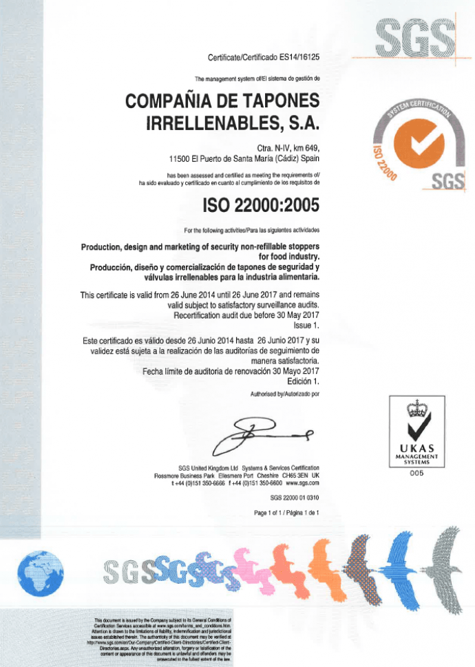 Torrent Closures certified with ISO 22000 for food safety control